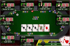 In Texas Hold 'em from Apple for the iPhone and iPod Touch, poker fans can enter virtual tournaments and play against intelligent computer opponents or against real people in the optional online mode.