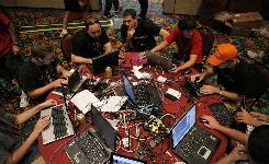 Team Sudoers competes in the Capture the Flag hacking competition at the DefCon conference in Las Vegas.