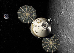 In this artist rendition, Orion orbits the moon with disc-shaped solar arrays tracking the sun to generate electricity.   