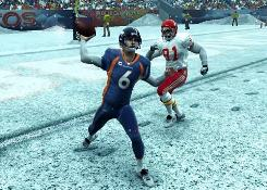 Broncos quarterback Jay Cutler lets it fly in Madden NFL 09.