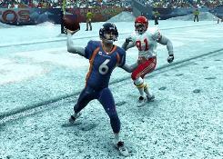 Broncos quarterback Jay Cutler lets it fly in Madden NFL 09.