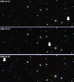 The comet-like object SQ372 changes positions as it moves in its orbit, while the positions of the stars that are much farther away stay fixed. The Sloan Digital Sky Survey showed the object on October 21 (top), 23 (middle) and 28 (bottom).