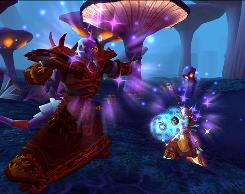 A Blood Elf, right, battles a Draenei in The Burning Crusade, an expansion pack to the World of Warcraft online video game. Researchers have found the game encouraged scientific thinking, like using systems and models for understanding situations and using math and testing to investigate problems.