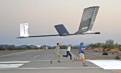 QinetiQ's Zephyr solar-powered, high-altitude long-endurance (HALE) Unmanned Aerial Vehicle taking off in Arizona. The ultra-lightweight plane built from carbon fiber and powered using paper-thin solar panels broke the world record for longest-lasting unmanned flight, its manufacturer claims.