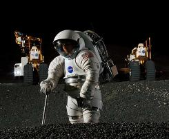 Spacesuit engineer Dustin Gohmert simulates work in a crater of Johnson Space Center's Lunar Yard, while his ride, NASA's new lunar truck prototype, stands ready in the background.