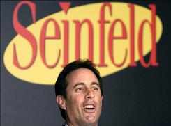 "Actor and comedian Jerry Seinfeld comments on the induction of the ""puffy shirt"" into the Smithsonian National Museum of American History in Washington in 2004. Seinfeld is a celebrity pitchman in Microsoft's $300 million advertising campaign aimed at changing its and Vista's image."