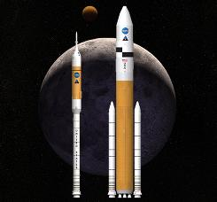 This artist rendering shows NASA's next-generation of moon rockets being developed at the Marshall Space Flight Center (MSFC) in Huntsville, Ala. Ares I, left, is the crew launch vehicle that will carry astronauts to space. Ares V is the cargo launch vehicle that will deliver the lunar lander and other large hardware to space. (AP Photo/NASA, Marshall Space Flight Center)