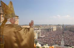 Pope Benedict XVI delivers a blessing from St. Peter's Basilica at the end of the Easter in April 2007, in Vatican City. Benedict warned last week against fundamentalists' literal interpretations of the Bible.