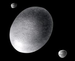 An illustration of the football-shaped dwarf planet Haumea, formerly known as 2003 EL61.