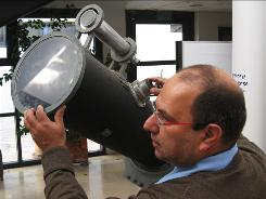 A telescope that once belonged to Albert Einstein, seen at the Givat Ram campus of the Hebrew University in Jerusalem. Einstein's long-lost telescope was retrieved from a storage shed and renovated. The public will be able to look at the stars through it starting Thursday.