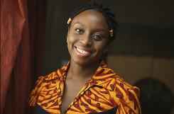 Nigerian writer Chimamanda Adichie in Lagos, Nigeria. Adichie, 31, a fiction writer, is among 25 recipients of this year's MacArthur Foundation 'genius grants.' Adichie, who lives in Maryland, received an award for her work exploring ethnic conflicts inspired by her native country.