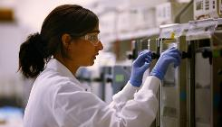 Bode Technology employee Jennifer Quinlan at work in the company's Lorton, Va., laboratory.