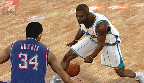 Hornets guard Chris Paul and Nets guard Devin Harris square off in NBA 2K9.