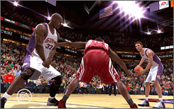 The virtual personas of the Suns' Shaquille O'Neal, far left, and Steve Nash, far right, attempt a pick-and-roll in NBA Live 09.