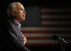 Republican presidential candidate, Sen. John McCain, R-Ariz., speaks at a rally in Davenport, Iowa.