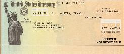 A sample IRS refund check.
