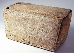 "A bone box, or ossuary, which reportedly bears the Aramaic inscription, ""Yaakov bar Yosef akhui di Yeshua,"" which translated reads, ""James, son of Joseph, brother of Jesus"", and which was found along with 10 ossuries with names etched into them in the Talpiot neighbourhood of Jerusalem during the construction of an appartment building in the 1980s."