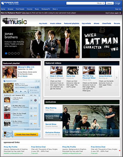 The songs on MySpace Music are available to the site's 120 million users for free.