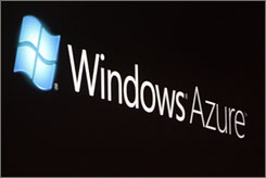 The logo for Windows Azure is shown on a screen during the 2008 Microsoft Professional Developers Conference in Los Angeles.