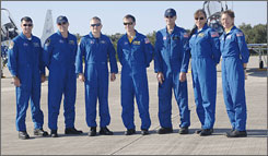 The Endeavour crew, from left: Shawn Kimbrough, Steve Bowan, Pilot Eric Boe, Commander Chris Ferguson, Donald Petit, Heide Piper and Sandra Magnus.
