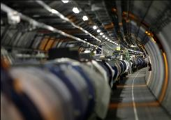 Part of the LHC (Large Hadron Collider) is seen in its tunnel at the CERN (European Center for Nuclear Research) near Geneva, Switzerland.