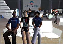 Avatars wear Obama T-shirts while attending a meeting at the unofficial Barack Obama campaign headquarters in SecondLife.