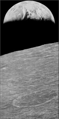 This photo provided by NASA shows Earth as seen by Lunar Orbiter 1 on Aug. 23, 1966, from a distance of 240,000 miles.