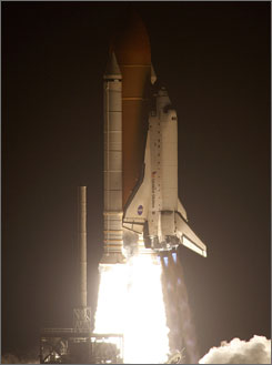The space shuttle Endeavour lifts off from the Kennedy Space Center in Cape Canaveral, Florida.
