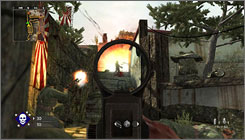 Behind the sights in 'Call of Duty: World at War.'
