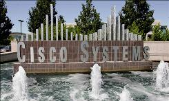 A fountain  is shown at the entrance to Cisco Systems headquarters in San Jose, Calif.
