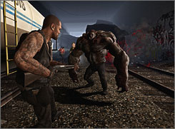 Ummm, a little help here: Survivor Francis takes on the Tank in 'Left 4 Dead.'