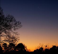 The planets Venus and Jupiter are seen about 1 degree apart in conjunction with each other before sunrise in the Eastern Sky, in Tyler, Texas, on Friday, Feb. 1, 2008.  Venus is the upper and brighter of the two.