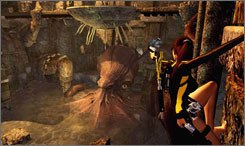 Lara Croft battles the Kraken, a sea creature similar to an octopus, in 'Tomb Raider Underworld.'