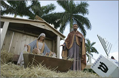Wellington, Fla.'s holiday display is outside the community center. When Baby Jesus disappeared from the creche in front of the community center, village officials followed a GPS device mounted inside the ceramic figure that led them to a nearby apartment and the arrest of an 18-year-old girl.