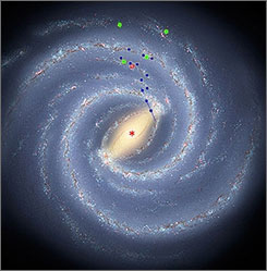 An artist's rendering provided by the Harvard-Smithsonian Center for Astrophysics shows the latest view of the Milky Way's structure.