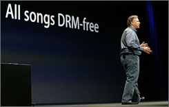 Philip Schiller, senior vice president of worldwide product marketing at Apple, announces songs on the company's popular iTunes service will be free of copy protection software at the Macworld Convention and Expo 2009 in San Francisco.