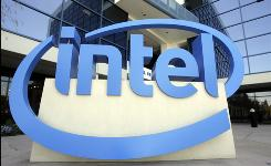 The sign is shown in front of Intel's headquarters in Santa Clara, Calif.
