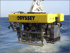 "In this May 2007 photo, Odyssey's Remotely Operated Vehicle is recovered from the seabed after recovering coins from the Colonial period shipwreck ""Black Swan."""
