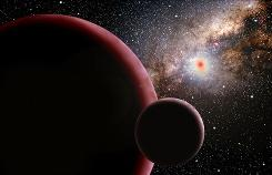 Artist's concept of the newfound 'super-Earth' and hypothetical moon.