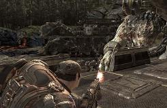 A screen shot of 'Gears of War 2.' Publisher Microsoft is studying the reactions of avid gamers to see whether games like 'Gears of War 2' can promote learning skills that carry over to the classroom.