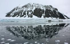 A mountain is reflected in a bay that used to be covered by the Sheldon glacier on the Antarctic peninsula, January 14, 2009. The glacier has shrunk by about 2 km since 1989, probably because of global warming.