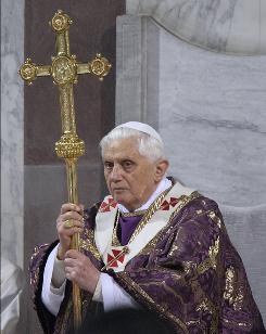 Pope Benedict XVI leads the Ash Wednesday service at the Santa Sabina Basilica on February 25, 2009 in Rome, Italy. Ash Wednesday opens the liturgical 40 day period of Lent; encouraging prayer, fasting, penitence and alms giving, leading up to Easter.