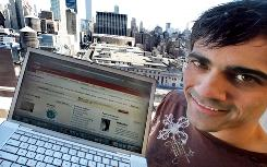 Jeremy Stoppelman, CEO of Yelp.com, a business and consumer review website, pose during a visit to New York.