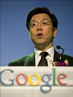 Kai-Fu Lee, president of Google China, speaks at a ceremony to launch Google's free music download service for China in Beijing, China, Monday, March 30, 2009. Google and major music companies launched a free Internet music download service for China on Monday in a bid to help turn a field dominated by pirates into a profitable, legitimate business.
