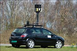 This Google photo shows one of their street mapping cars. A privacy watchdog has banned Google from gathering detailed, street-level images in Greece for a planned expansion of its panoramic Street View mapping service until the company provides additional privacy safeguards.