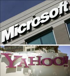 Combo pictures show the Microsoft office in Herndon, Virginia, December 27, 2005 and Yahoo headquarters in Sunnyvale, California, August 20 2005.