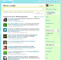 A screengrab taken on June 26 shows tweets on the micro-blogging site Twitter in memory of singer Michael Jackson.