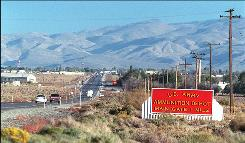 The entrance to the U.S. Army Ammunition Depot in Hawthorne, Nev., is shown Oct. 6, 1997.