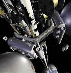 This image provided by NASA shows concept art for a space elevator.