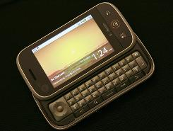 "Motorola's new ""Cliq"" cellphone is shown in San Francisco, California."